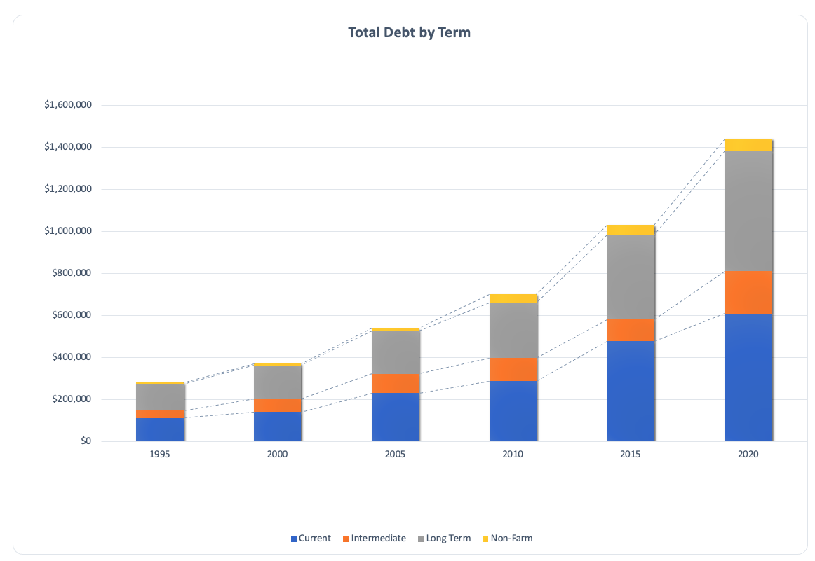 Total debt by term chart.