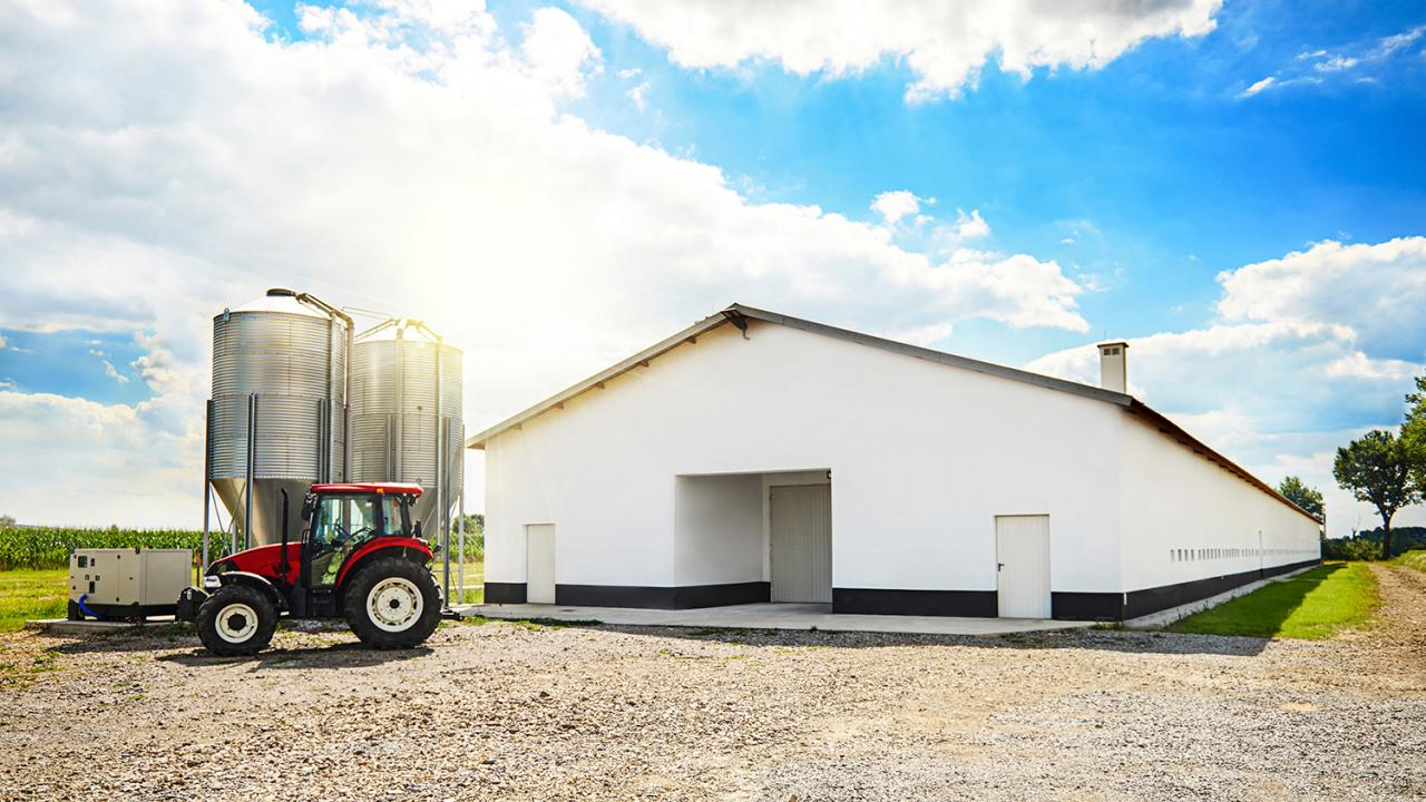 White ag building and tractor.