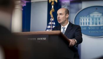 Labor Secretary Eugene Scalia speaking at The White House.